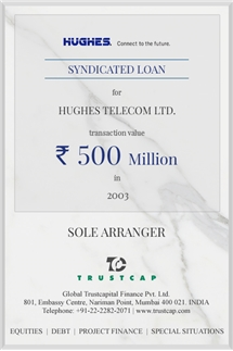 Syndicated Loan of Project & Structured Finance for Hughes Telecom Ltd.