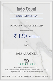 Syndicated Loan of Project & Structured Finance for Indocount Industries Ltd.
