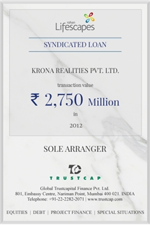 Syndicated Loan of Project & Structured Finance for Krona Realties Pvt. Ltd.