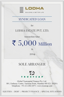 Syndicated Loan of Project & Structured Finance for Lodha Estate Pvt. Ltd.