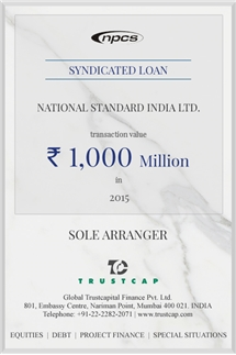 Syndicated Loan of Project & Structured Finance for National Standard India Ltd.