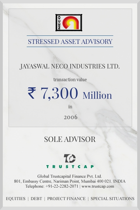 Stressed Asset Advisory of Special Situations for Jayaswal Neco Industries Limited