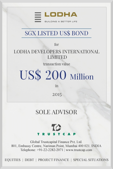 SGX listed US$ Bond of Capital Markets - ECM & DCM for Lodha Developers International Limited
