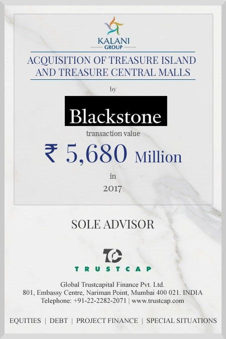 Acquisition of Treasure Island and Treasure Central Malls of M&A and Transaction Advisory Services for The Blackstone Group